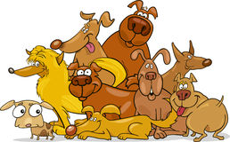 Cartoon dogs group Stock Images