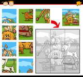 Cartoon dogs jigsaw puzzle game Stock Photography