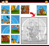 Cartoon dogs jigsaw puzzle game Royalty Free Stock Image