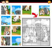 Cartoon dogs jigsaw puzzle game. Cartoon Illustration of Education Jigsaw Puzzle Game for Preschool Children with Funny Purebred Dogs Group Animals Royalty Free Stock Image