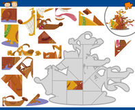 Cartoon dogs jigsaw puzzle task Royalty Free Stock Photography