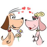 Cartoon dogs in love Royalty Free Stock Photography
