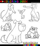 Cartoon Dogs or Puppies for Coloring Book Stock Images