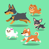 Cartoon dogs running collection. For design stock illustration
