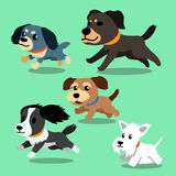 Cartoon dogs running. For design Stock Photos