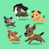 Cartoon dogs running set. For design Stock Photography