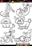 Cartoon dogs set for coloring book Stock Photography