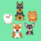 Cartoon dogs standing collection Royalty Free Stock Photo