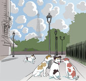 Cartoon dogs on a street in Paris Stock Photography