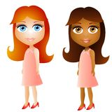 Cartoon Doll Face Girls. A clip art illustration featuring your choice of cute doll-faced girls wearing pink dresses Royalty Free Stock Photos