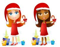 Cartoon Doll Face Girls. A clip art illustration featuring your choice of cute doll-faced girls wearing red dresses, santa hats and holding candy canes Royalty Free Stock Photo