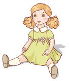 Cartoon doll in a green dress Stock Image