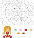 Cartoon doll in red dress. Color by number educational game for Stock Photography