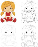 Cartoon doll in a red dress. Dot to dot game for kids Stock Image