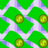 Cartoon dollar bills seamless background design Royalty Free Stock Photos