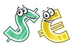 Cartoon dollar and euro Royalty Free Stock Photos