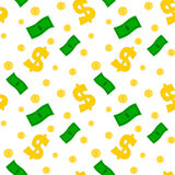 Cartoon dollar money seamless pattern background illustration Stock Photography
