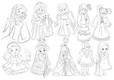 Cartoon dolls coloring book. Illustration Stock Image