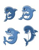 Cartoon dolphin calves set. Cute cartoon blue dolphins set for fairytale, comics and wildlife design royalty free illustration