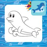 Cartoon dolphin. Coloring page Stock Images