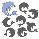 Cartoon dolphin. Find the right shadow image. Educational games for kids. Cartoon dolphin Royalty Free Stock Photos