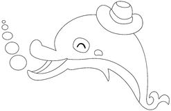 Cartoon dolphin. Illustration of an isolated dolphin on a white background Stock Photo