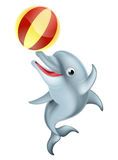 Cartoon Dolphin Playing with Ball. A happy cartoon dolphin playing with an inflatable ball Stock Photography