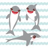Cartoon dolphin set. Kawaii with pink cheeks and positive smiling on blue waves sea ocean background. banner template, card design. Vector illustration Stock Photo
