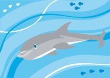Cartoon dolphin underwater Stock Images