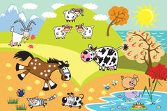 Cartoon domestic animals illustration Royalty Free Stock Images
