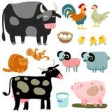 Cartoon domestic animals set. Illustration of isolated farm animals set on white background Stock Photography