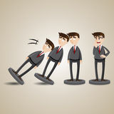 Cartoon domino businessman figure fall down Stock Photo