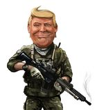 Cartoon of Donald Trump in soldier uniform- Illustrated by Erkan. May 18, War themed cartoon of Donald Trump - Illustration of the American President Stock Image