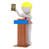 Cartoon Donald Trump Standing at Podium with Book Royalty Free Stock Images