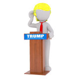 Cartoon Donald Trump Standing at Speech Podium Royalty Free Stock Image