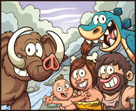 Caveman family. Taking a selfie. Vector clip art illustration with simple gradients. Some elements on separate layers for easy editing Royalty Free Stock Photography
