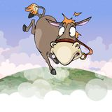 Cartoon donkey flying in the air of the earths atmosphere. Cartoon donkey flying in the air of earths atmosphere stock illustration