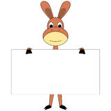 Cartoon donkey with sign board Stock Images