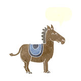 Cartoon donkey with speech bubble Stock Photography
