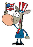 Cartoon donkey waving an american flag. Patriotic donkey wearing a hat and waving an american flag