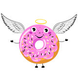 Cartoon Donut as angel with wings and nimbus. Vector isolated illustration on a white background stock illustration