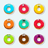Cartoon donut cute character face icons. Stock Images