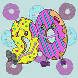 Cartoon donuts cute color Stock Images