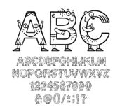 Cartoon doodle alphabet or font with eyes and smiles for kids designs royalty free stock images