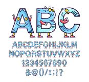 Cartoon doodle alphabet or font with eyes and smiles for kids designs stock image