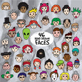 Cartoon doodle avatars vector set. 46 hand drawn faces stock illustration