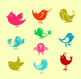 Cartoon doodle birds Stock Photography