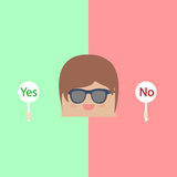Cartoon doodle businessman are thinking Yes and No idea.  Stock Photos