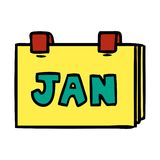 Cartoon doodle of a calendar with jan. A creative illustrated cartoon doodle of a calendar with jan royalty free illustration