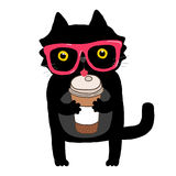 Cartoon doodle cat with hipster glasses and coffee Royalty Free Stock Image